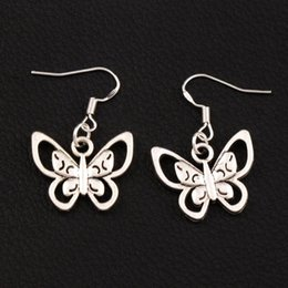 Papilio Butterfly Earrings 925 Silver Fish Ear Hook 30pairs lot Antique Silver Chandelier E1123 33.5x21mm