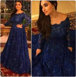 2017 Hot Arabic Abaya Long Sleeve Lace Muslim Evening Dress Capped Floor Length Prom Dress Royal Blue Custom Formal Evening Gowns Plus Size