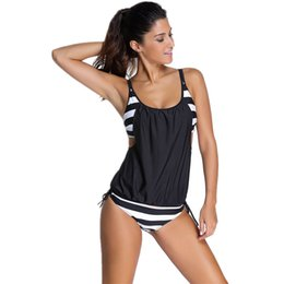 Tankinis mulheres s à venda-2016 New Sexy Swimwear Mulheres Striped Bikini Feminino Tankini 2 Pieces Swim Beach Swimwear Plus Swimsuit Biquine Sport