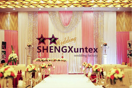 White Color Wedding Backdrop Curtain \ Stage Background With Pink Color Swag Drape