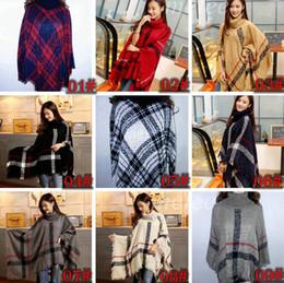 Wholesale Autumn Winter woman big girls classic plaid cloak High collar shawl Poncho fashion Loose plaid Bat shawl about cm color free choose
