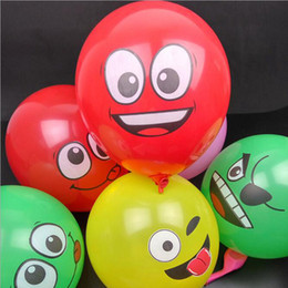 Wholesale 12 Inch Inflatable Balls For Holidays Multicolor Cartoon Face Expression Latex Party Balloons Random Delivery Air Balloons