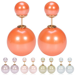 Color new cream color effect double-sided Pearl Stud Earrings FZ60