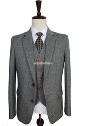 Retro gentleman style Grey Classic Tweed tailor wedding suits for men custom made Wool Slim Fit blazer mens 3 piece suit