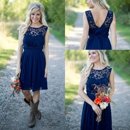 New Arrival Country Style Royal Navy Blue Short Bridesmaid Dresses 2019 Chiffon Lace Cheap Jewel Backless Knee Length Weddings Guest Dress