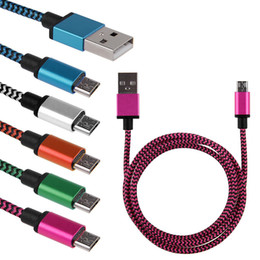 Wholesale 1 M Alluminium Alloy USB Head Colorful Nylon Braided Micro USB Cable Data Sync Charger Cable Cord Wire for Samsung Android phone