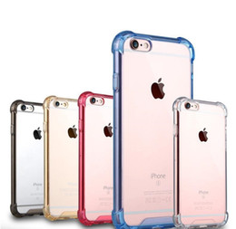 Wholesale Crystal Clear Phone Cover Case Shock Absorptionwith Transparent Hard Plastic Back Plate and Soft TPU Gel Bumper For Iphone Plus s Plus