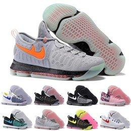 Kd chaussures de vente mens en Ligne-(Avec boîte) Hot Sale Nouveau KD 9 tous les blancs chaussures de basket-ball pour hommes KD9 Oreo Gray Wolf Kevin Durant 9s hommes Sport Training Sneakers Warriors Accueil