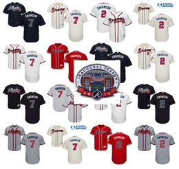 Wholesale 2017 Inaugural SunTrust Park Commemorative Patch Dansby Swanson baseball Jersey men Atlanta Braves Flexbase Collection stitched S XL