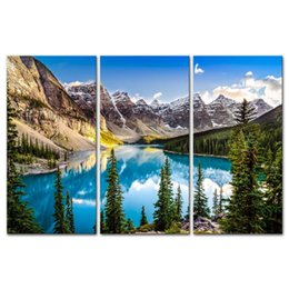 Wholesale 3 Pieces Modern Canvas Painting Wall Art For Home Decoration Morain Lake And Mountain Range Alberta Canada Landscape Print On Canvas