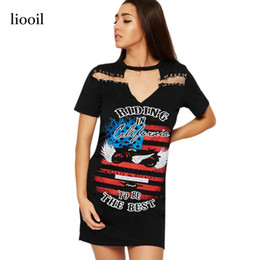 2017 mini-roches Rock And Roll Pattern Print T-shirt A Line Dress Summer Sexy Hollow Out Pin Short Sleeve O Neck Vintage Mini Femme Robe 17411 mini-roches autorisation