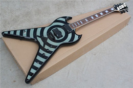 Vol blanc v en Ligne-Custom ZV Zakk Wylde Flying V Gris Noir Bullseye Guitare Electrique Blanc MOP Block Fingerboard Incrustation EMG Pickups String Thru Body