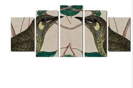 5 pieces Wall Art Two beautiful birds Picture abstract animal oil painting on Canvas 100%hand made