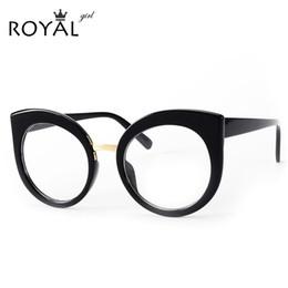 2017 fille chat cru Vente en gros- ROYAL GIRL Lunettes de vue de femmes de femmes Design de marque Vintage Acetate Frame Clear Oval Lens Eyeglasses ss035 fille chat cru promotion