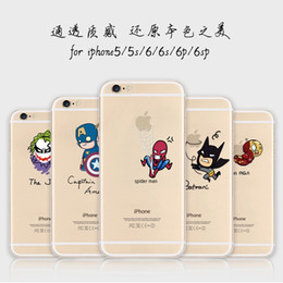 For Iphone 7 Case Apple 5 Spiderman Case for iPhone 6s Plus Ultra-Thin transparent Soft TPU Batman Cases Note 5 Clear Cases