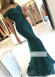 2017 New Arrival Vintage Dark Green Lace Mermaid Prom Dresses Off Shoulder Lace Applique Beads Crystals Formal Evening Party Gowns Custom