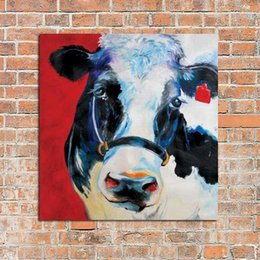 Framed Adorable Cow Farm Theme Art,Hand-painted Modern Venice Animals Art Oil Painting,Home Wall Decor On Quality Canvas Multi sizes C025