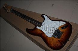 Wholesale China Custom Guitar Burl pattern natural satinwood body electric guitar Floyd rose tremolo ST Electric Guitar