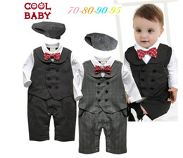 Wholesale Hat long sleeve jumpsuit baby autumn winter suit new pretty bow boy fashion dress kids clothes set A27