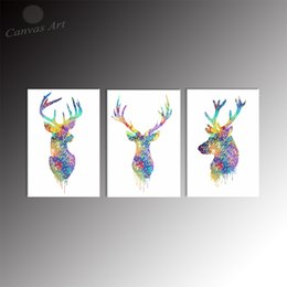 Modern 3 Piece Nordic Painting Animal Deer Digital Canvas Picture Printing on Canvas for Restaurant Decoration No Framed