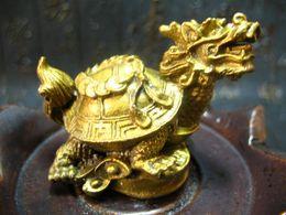 Chine fengshui bronze en laiton dragon tortue Tortue richesse chanceux longévité statue en métal artisanat