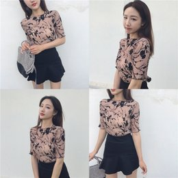 2017 summer Korean vintage style all-match tight crew neck floral pleated T-shirt 90% chiffon two colors