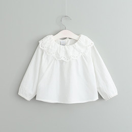 Wholesale Baby Girls T shirt spring new children lace hollow falbala blouses baby kids cotton long sleeve doll collar princess tops girls clothesT1044