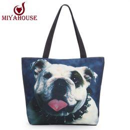 Скидка большие отпечатки на холсте Оптово-Cute Animals Dog Printed Canvas Tote женщин вскользь пляжные сумки большой емкости Single Shopper мешок моды Ежедневное использование Холст сумочек
