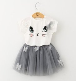 Wholesale 2017 Bear Leader Girls Clothing Sets New Summer Fashion Style Cartoon Kitten Printed T Shirts Net Veil Dress Girls Clothes Sets