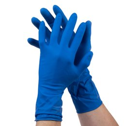 50pcs Lot 12 inch Nitrile Disposable Thicker Gloves Unisex Household Cleaning Medica Powder Free Gloves Experiment Cleaning Blue M L ZN1210B