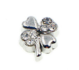 20pcs lot Rhinestones 4 leaf Clover Floating Locket Charms Fit For Living Memory Locket DIY Jewelry Findings