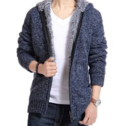 Wholesale-New free shipping hot selling New winter sweaters men solid color casual hooded cardigan sweater thick warm coat