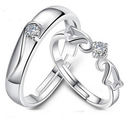 New Engagement Rings For Couple 925 Sterling Silver Love Couple Wedding Ring With Crystal 20pcs Free Shipping