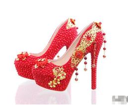 Promotion perles de diamant hauts talons Elegant Red Pearl Rhinestone Mariage Chaussures faites à la main Chaussures de mariée magnifique 14 pouces à talons hauts Diamond Woman Pumps Prom Shoes