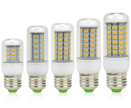 Warm White E27 LED Corn Bulb Light 7W 9W 12W 15W 18W 3000 Lumen SMD 5730 With Cover 56 leds GU10 E14 B22 G9 Office Lights Via DHL
