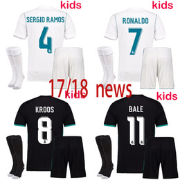 free shipping 2017 18 Kids Kit Real Football Jersey Home White Away black Boy Soccer kit Ronaldo Bale ASENSIO ISCO Child Soccer suit+sock