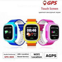2017 dispositivo de niño perdido Kids GPS tracker Q90 Pantalla táctil WIFI Smart Watch teléfono Child SOS Llamada Ubicación Finder Dispositivo Anti Lost Monitor para regalo de bebé dispositivo de niño perdido baratos