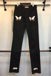 Wholesale Off White c o virgil abloh Embroidery Eagle black denim jeans denim pants