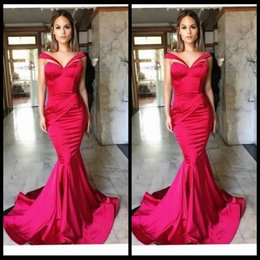 2017 Unique Design Mermaid Prom Dresses Rose Satin Sexy Off Shoulder Long Special Evening Party Gowns For Women Gowns