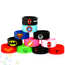 Wholesale Newest Vape Band Silicone Rings Colorful Decoration Protection Rubber Rings Deadpool Flash Hulk Batman Logo Fit E Cigarette DHL Free