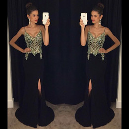 2020 Black Chiffon Prom Dresses Mermaid With Crystal Evening Party Long Gowns Spaghetti Strap Vestido De Baile