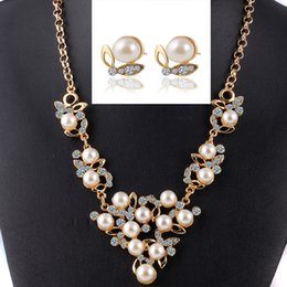 2017 butterfly jewelry suit pearl crystal insects act the role ofing is tasted suit new necklace