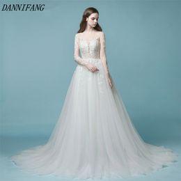 High Quality 2018 Wedding Dresses Long Sleeve See Through Lace Bridal Gown Boho Wedding Gown Tulle Vestido de Novia