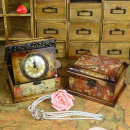 Cajas de madera relojes en Línea-Cajas de joyería Embalaje de joyería Retro caja de reloj de madera con reloj Foto de visualización