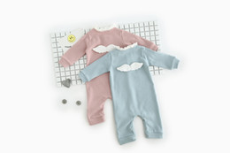 Wholesale INS new arrivals baby kids climbing romper long sleeve angel wing romper girl kids romper T