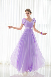 V Neck Pleat Purple Long Bridesmaids Evening Party Formal Celebrity Dresses Chiffion Sexy Women Prom Fashion A Line Gowns