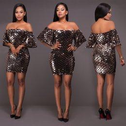 Sexy Club Mini vestido de lentejuelas 2017 Slash cuello de Hombro Geométrico ondulado bordado Bodycon Partido vestido de trabajo Vestido GZX125 desde vestido del hombro del trabajo fabricantes