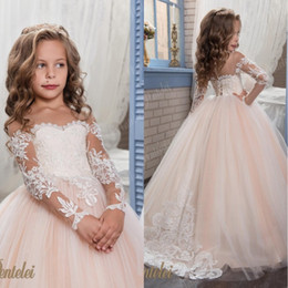 Kids Flower Girls Dresses for Weddings 2018 Pentelei with Illusion Long Sleeves Tulle Blush Little Girls Gowns Arabic Kids Pageant Dress mz