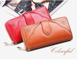 SENDEFN Vintage Leather Women Wallet Long Coin Pocket Purse Phone Wallet Female Card Holder Female Pures Lady Clutch