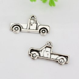 Wholesale Hot Sale Antique silver Zinc Alloy Single sided Truck Charm Pendants x14mm DIY Jewelry A